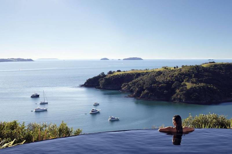 The infinity pool at Delamore Lodge
