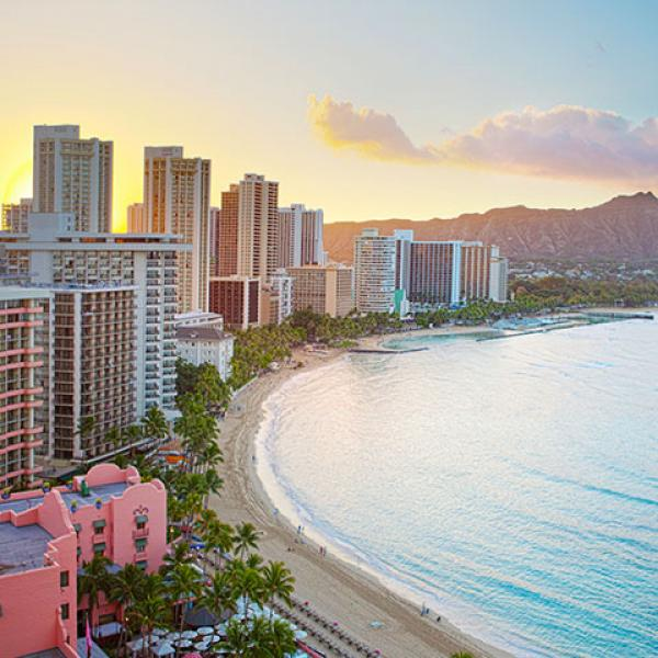 Waikiki beach at sunrise