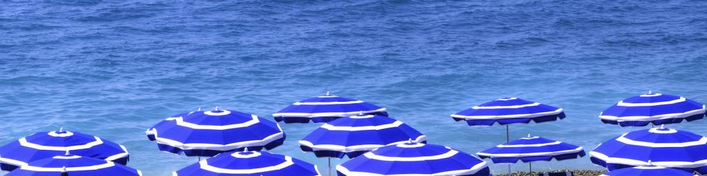 Beach umbrellas in Nice.