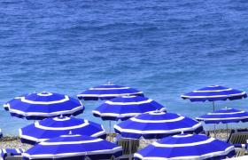 Beach umbrellas in Nice.